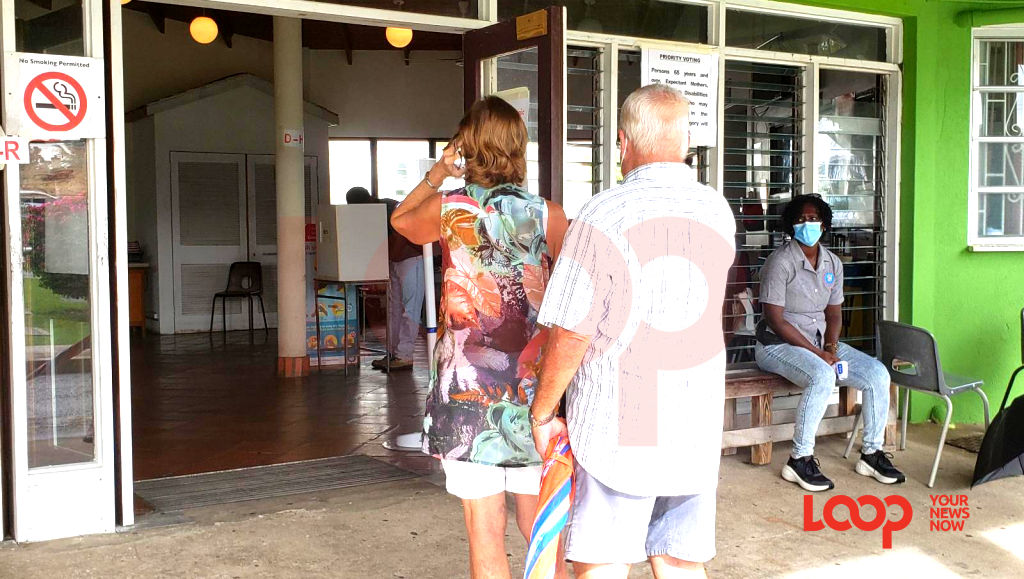 Couple voting at the Glebe Polyclinic