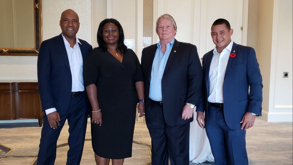 (L-R) Director of FTS, Paul Byles, Director of Tourism, Rosa Harris, Deputy Premier and Tourism Minister Moses Kirkconnell, and Commerce Minister Joey Hew