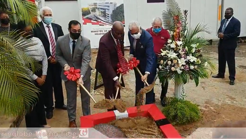 MP for Port of Spain North/St Anns West, Stuart Young, Prime Minister Dr Keith Rowley and Minister of Health Terrence Deyalsingh at the sod turning for the Ministry of Health Headquarters on Jerningham Avenue, Port of Spain.