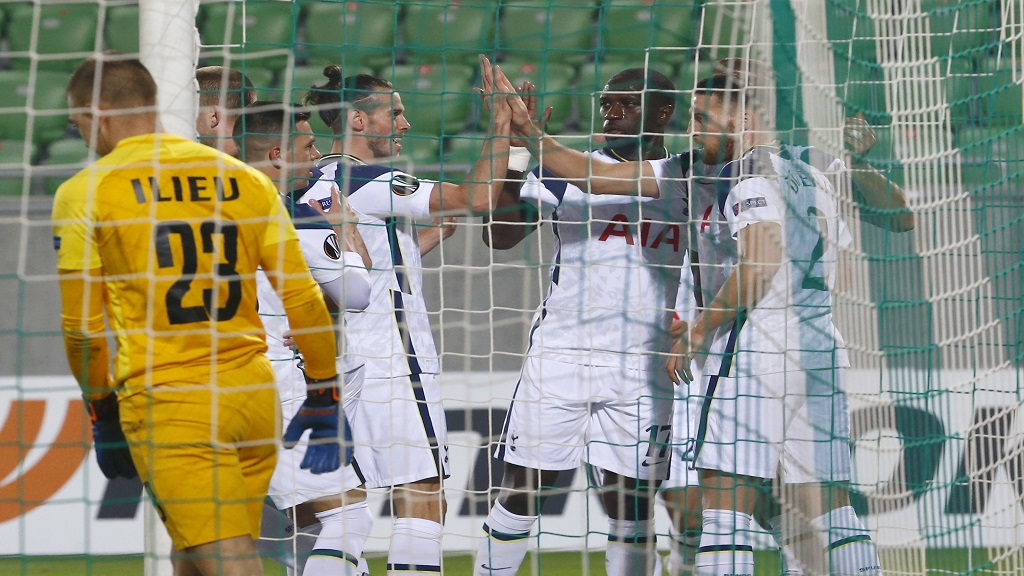 Tottenham's Harry Kane celebrates with teammates after scoring his side's first goal during the Europa League Group J football match against Ludogorets  at the Ludogorets Arena stadium in Razgrad, Bulgaria, on Thursday, Nov. 5, 2020. (AP Photo/Anton Uzunov).