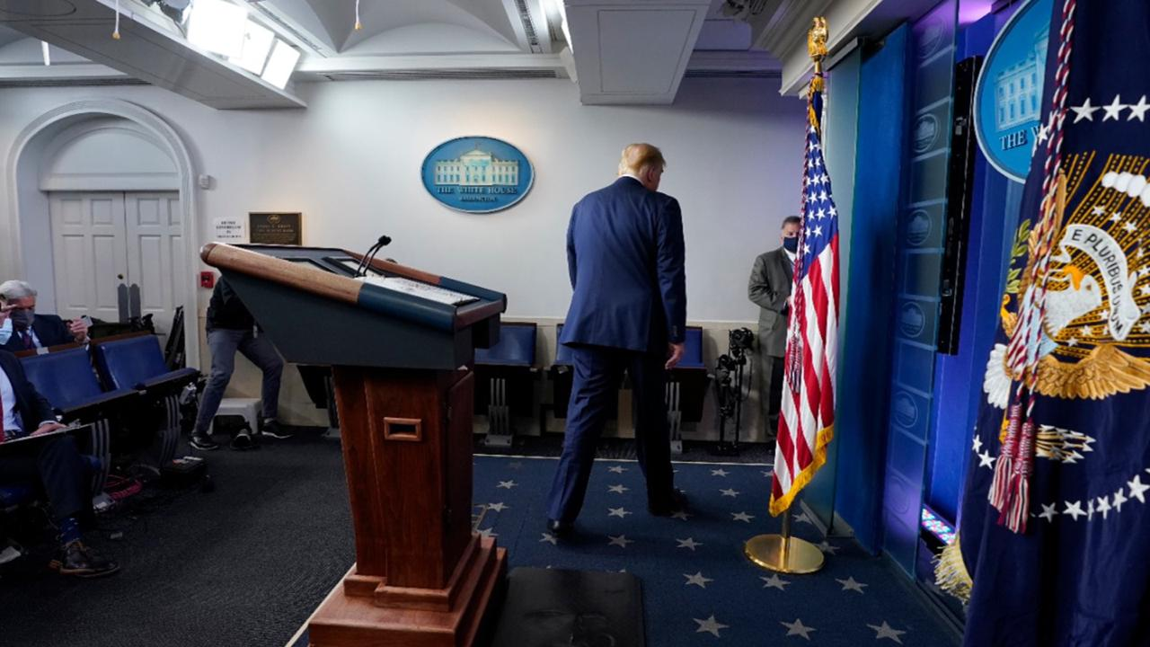 President Donald Trump walks away after speaking at the White House, Thursday, November 5, 2020, in Washington. (AP Photo/Evan Vucci)