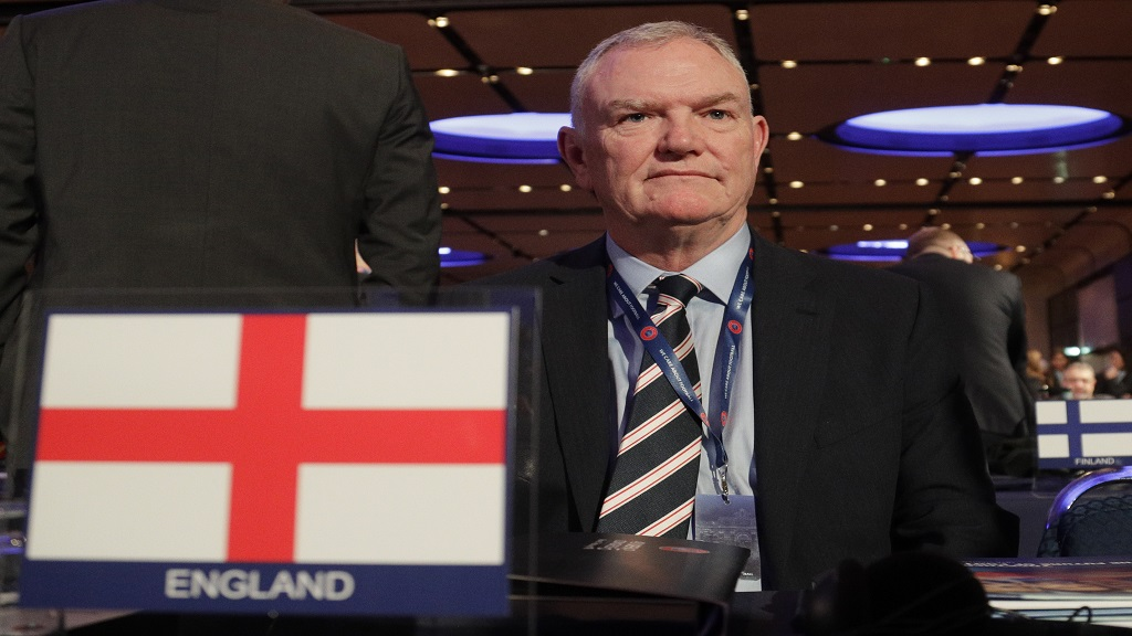 In this file photo dated Thursday, February 7, 2019, England's FA Chairman Greg Clarke poses for photographers as he arrives on the occasion of the 43rd UEFA congress in Rome.  (AP Photo/Gregorio Borgia, FILE).