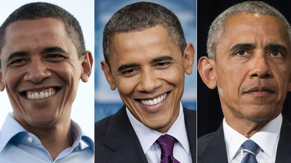 Un combo de trois photos de Barack Obama (de gauche à droite), datant du 30 août 2008, du 6 mars 201, et du 5 septembre 2016 afp.com - SAUL LOEB