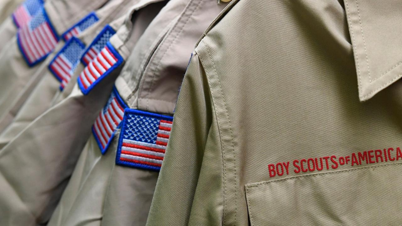 In this February 18, 2020, file photo, Boy Scouts of America uniforms are displayed in the retail store at the headquarters for the French Creek Council of the Boy Scouts of America in Summit Township, Pa. (Christopher Millette/Erie Times-News via AP, File)