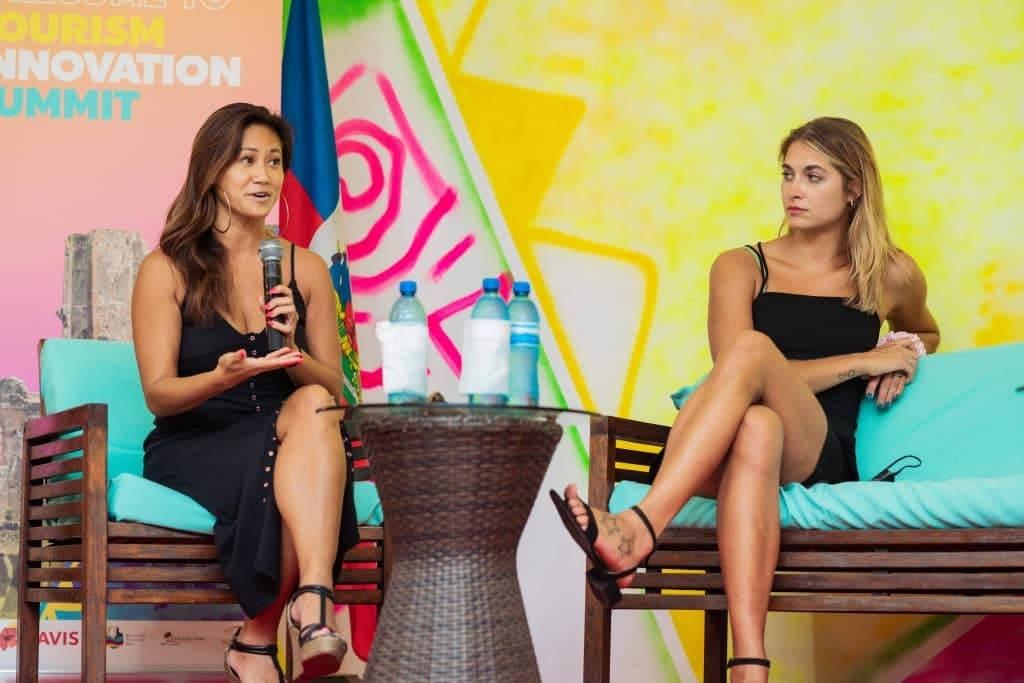 A gauche: Theresa Tran, CEO de Offense/ à droite: Monica Aksamit, médaille de bronze aux jeux olympiques de Rio 2016/ Photo: TIS 2020