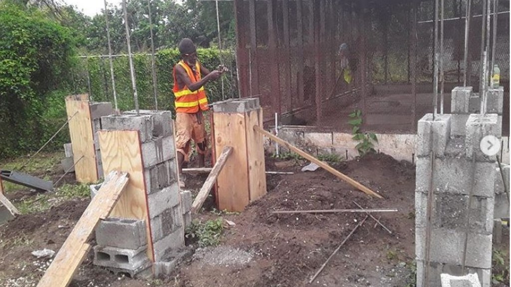Photo of construction work at Sunbeam Children's Home, Egg Layers Project. Photo from Buju Banton Foundation's Instagram page