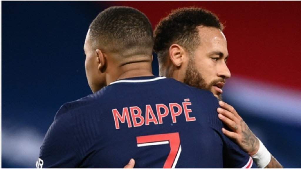 Paris Saint-Germain pair Kylian Mbappe and Neymar.