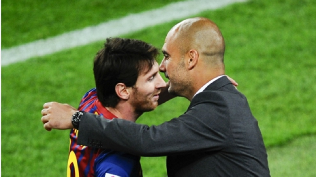 LIonel Messi (left) and Pep Guardiola in 2012.