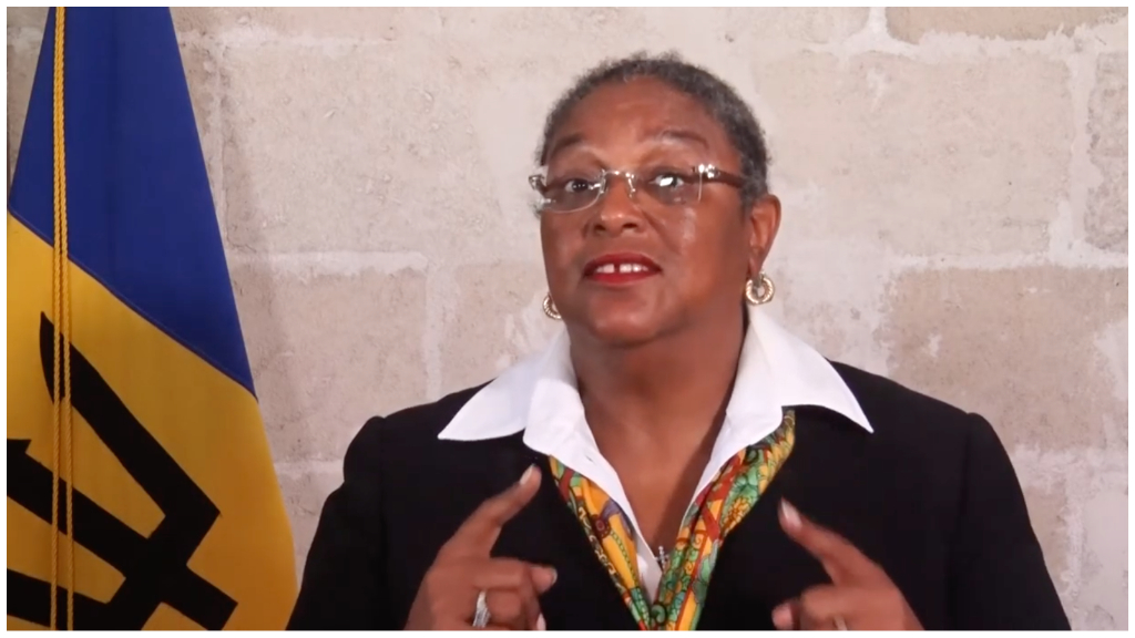 Prime Minister Mia Mottley delivers a brief message following the one-millionth death due to COVID-19. (Source: PMO Barbados YouTube)