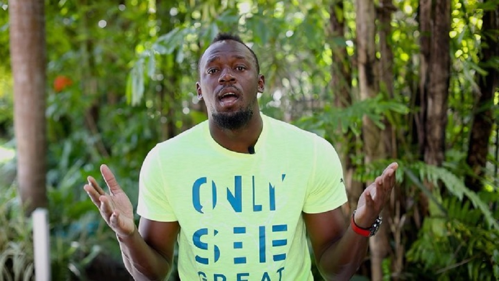 Usain Bolt appears in a video release about his foundation's donation of supplies to 21 rural institutions.