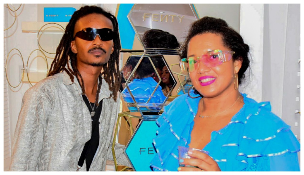 Owner of Eye Q Stylist Opticians, Alicia Hartman (right) poses with stylist Junior Sealy.