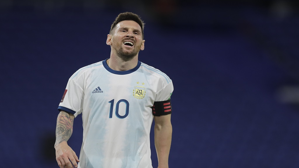 Argentina's Lionel Messi reacts during a qualifying football match against Paraguay for the FIFA World Cup Qatar 2022 in Buenos Aires, Argentina, Thursday, Nov. 12, 2020.(Juan Roncoroni, Pool via AP).