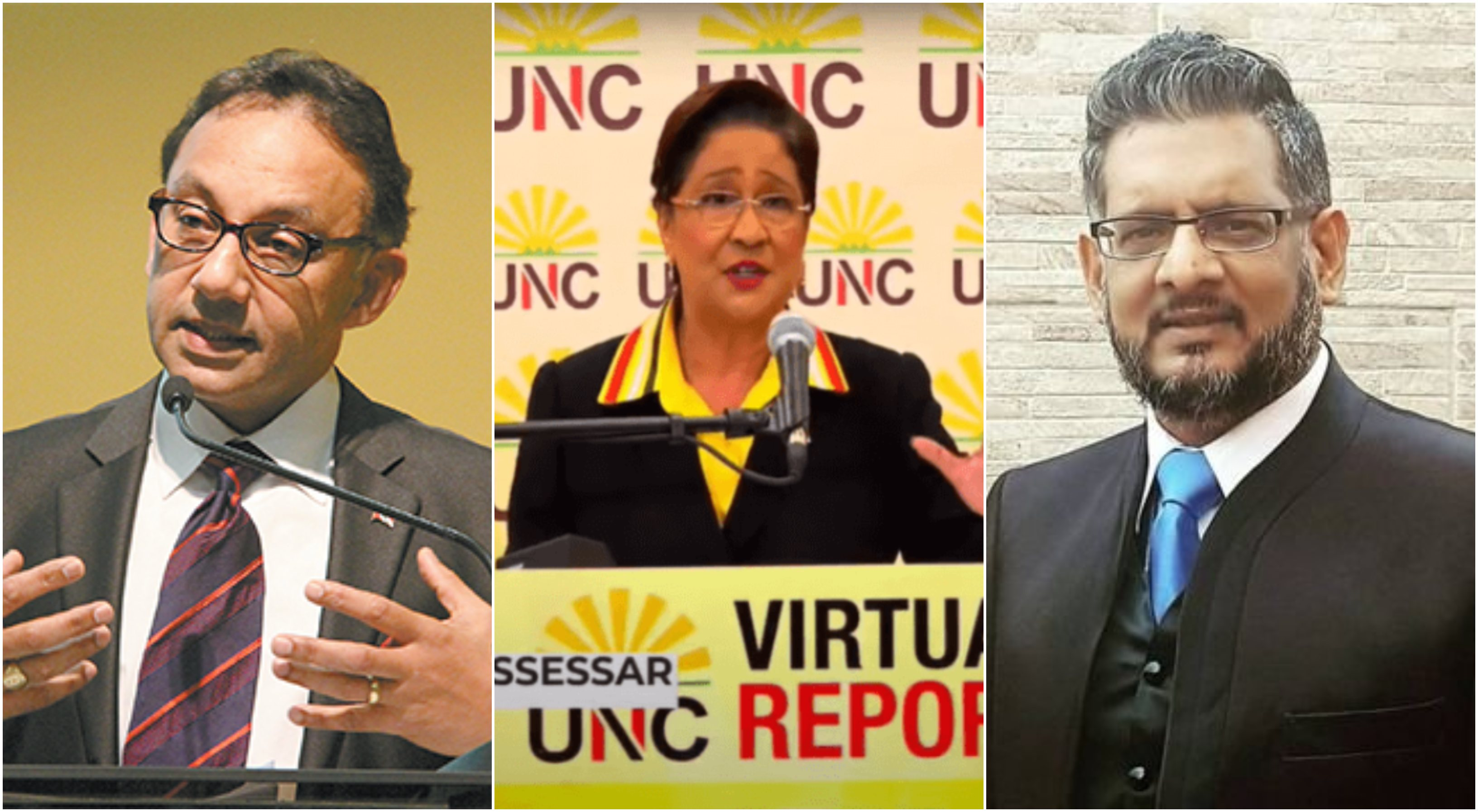 From left: Vasant Bharath, (incumbent) Kamla Persad Bissessar and Devant Maharaj.