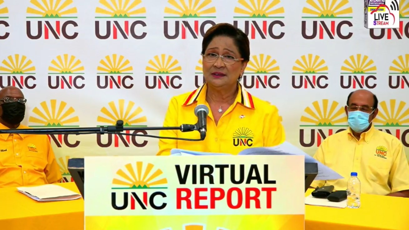Political Leader of the United National Congress, Kamla Persad Bissessar.