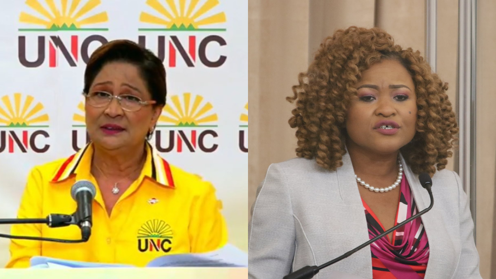 Opposition Leader, Kamla Persad Bissessar (left) & Minister of Education, Dr Nyan Gadsby Dolly (right)