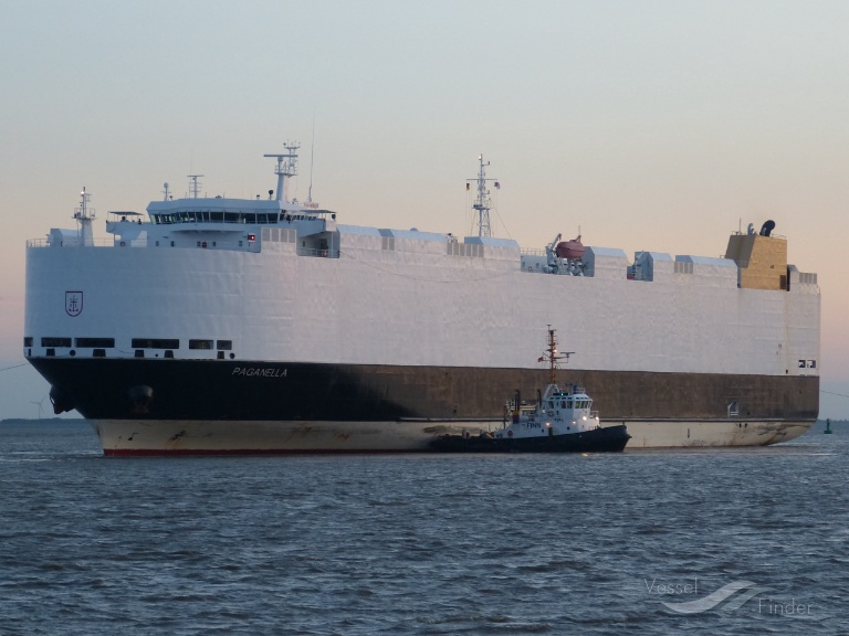 The German car carrier Paganella which rescued three Canadian sailors off Bermuda over the weekend.