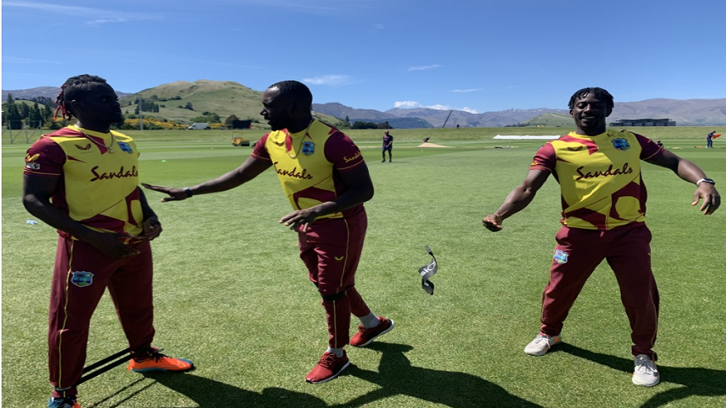 West Indies players in their new playing shirts during a training session in New Zealand.