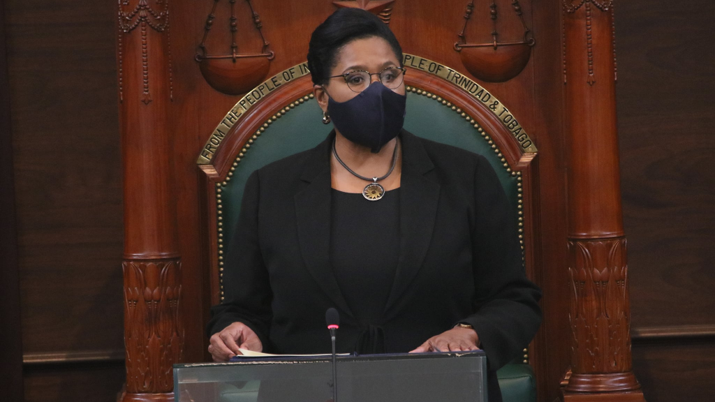 Photo: President Paula-Mae Weekes. Credit: Office of the Parliament of Trinidad and Tobago.