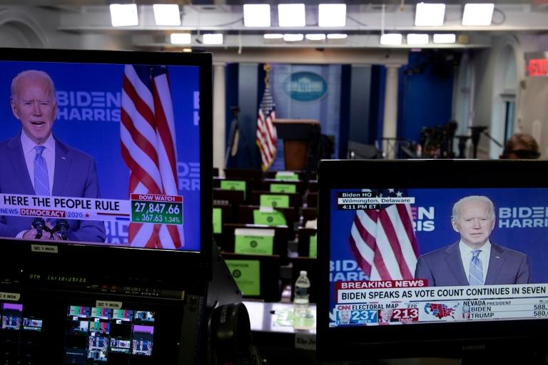 La salle de presse de la Maison Blanche, le 4 novembre 2020. Le lendemain de l'élection américaine a vu un pic de fréquentation des sites et applications d'info afp.com - Brendan Smialowski