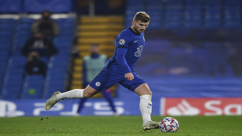 Chelsea's Timo Werner scores the second goal during the Champions League Group E football match against Rennes at Stamford Bridge, London, England, Wednesday Nov. 4, 2020. (Ben Stansall/Pool via AP).