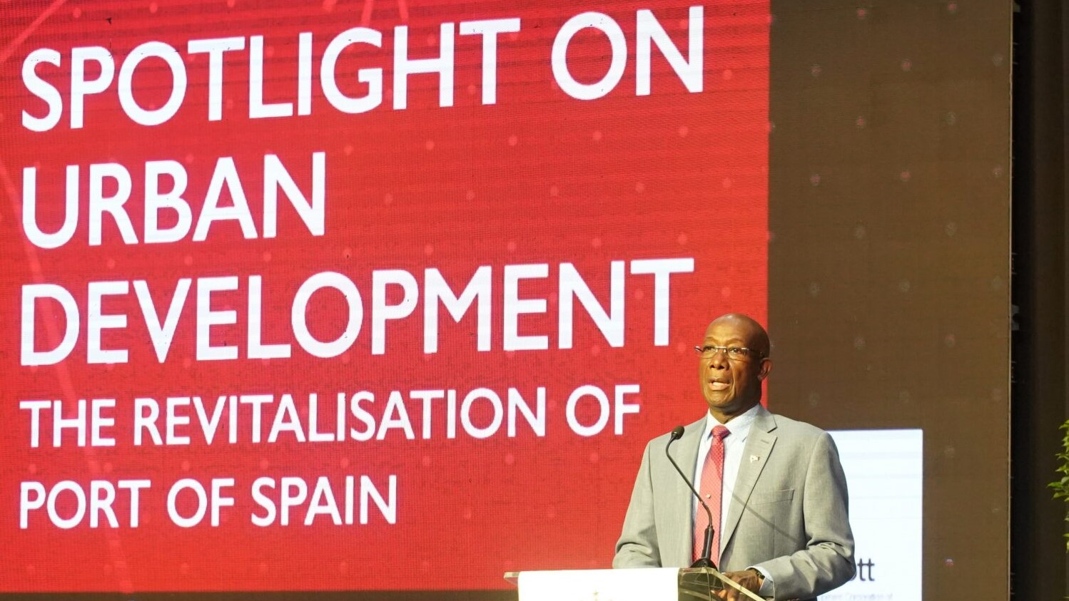 Prime Minister Dr Keith Rowley at the Spotlight on Urban Development. (via OPM)