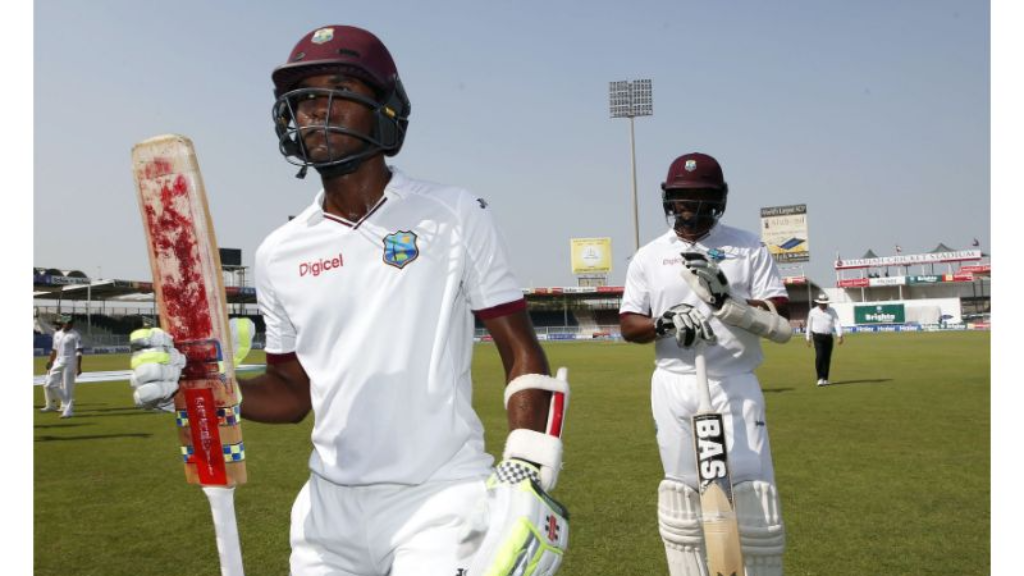 Kraigg Brathwaite leaves the field during the 2017 tour of New Zealand. (Photo credit - Cricket West Indies Media)