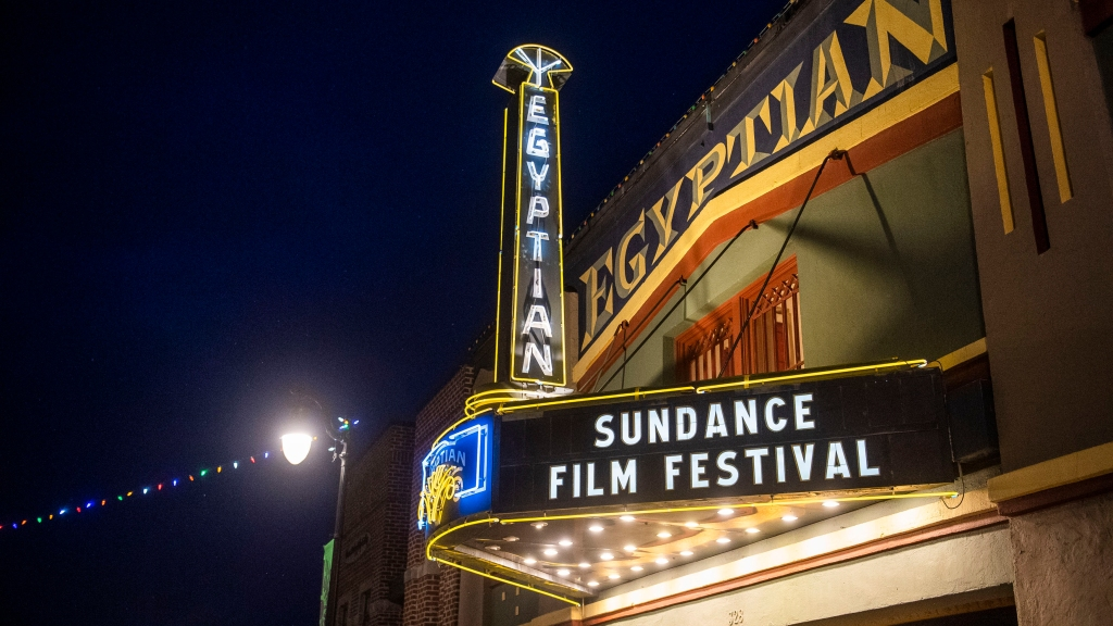 The marquee of the Egyptian Theatre promotes the 2020 Sundance Film Festival in Park City, Utah on January 28, 2020. Photo: Arthur Mola/Invision/AP/ File