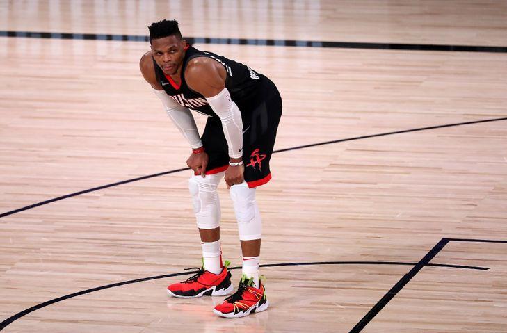 Russell Westbrook, avec les Houston Rockets, contre les Lakers en play-offs NBA dans la Bulle de Disney World à Orlando, le 12 septembre 2020 afp.com - Michael Reaves