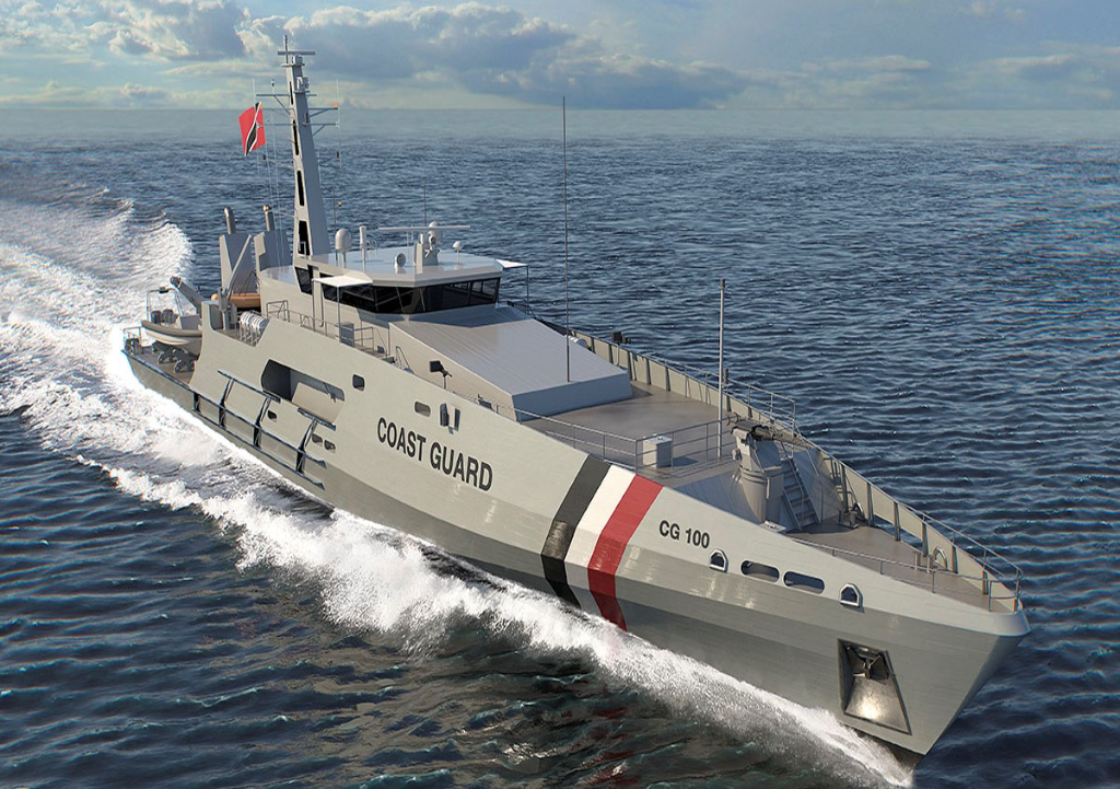 Photo: Concept render of Cape Class Patrol Boat for Trinidad and Tobago Coast Guard, via Austal.
