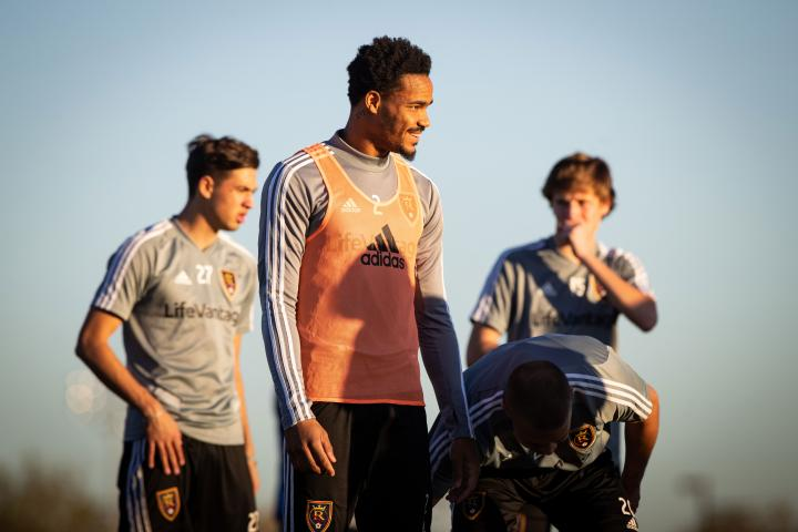 Alvin Jones smiles during a training session with Real Salt Lake during the 2020 Major League Soccer Season. (Photo courtesy Real Salt Lake)