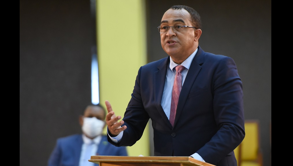 Health Minister Dr Christopher Tufton  makes a Statement in the House of Representatives on Tuesday, at the Jamaica Conference Centre in downtown Kingston. (Photo: JIS)