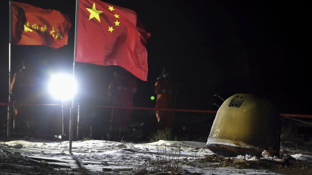 China's Chang'e-5 lunar probe successfully delivers moon samples to Earth