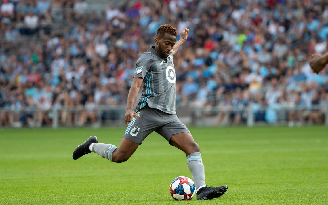 Kevin Molino playing for his Major League Soccer (MLS) team Minnesota United FC. Minnesota is bidding for a place in the MLS Western Conference final against Seattle Sounders. (Photo credit - Minnesota United Twitter)