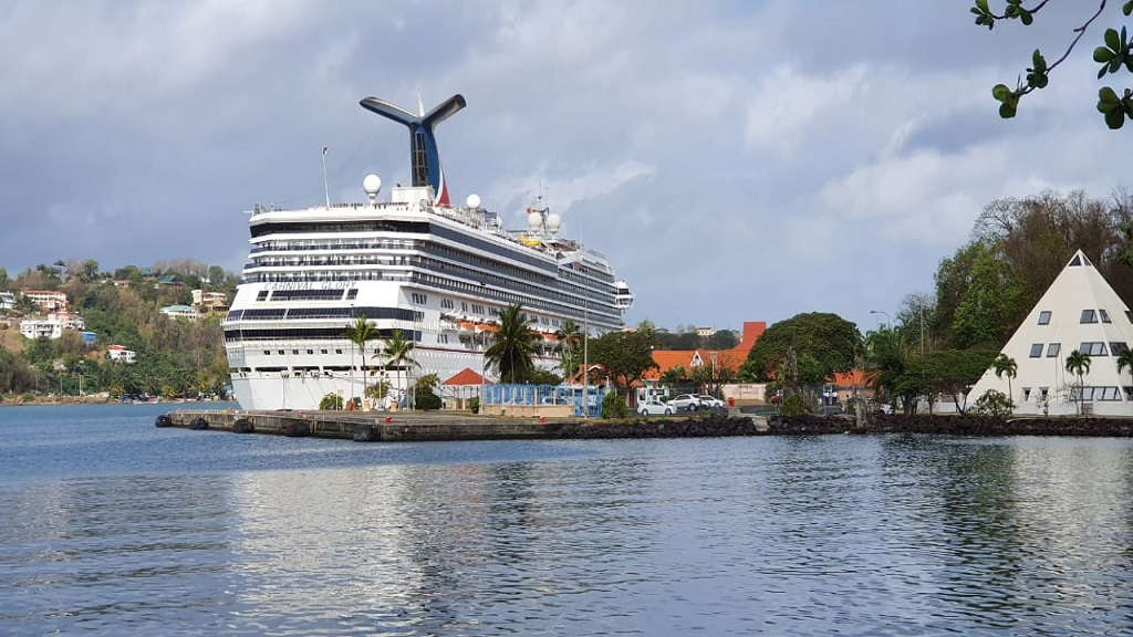 Cruise ship docked at Point Seraphine, Castries