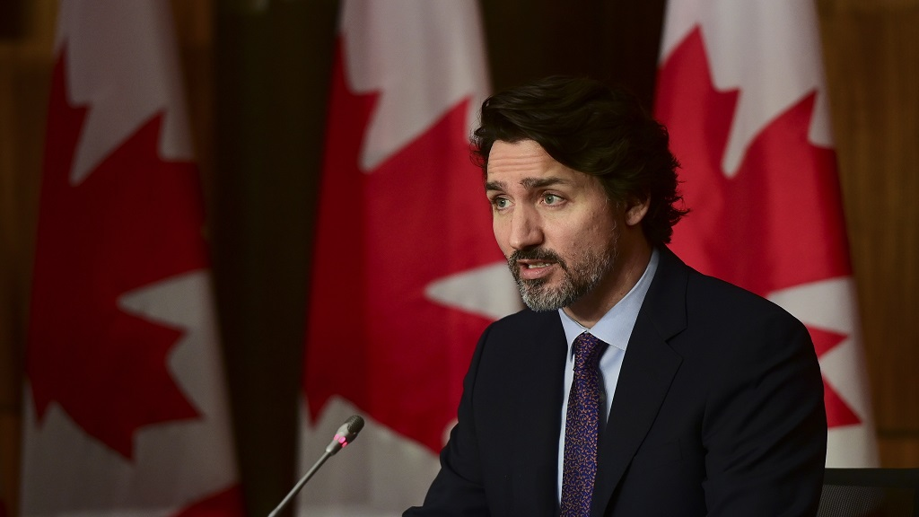 Canada Prime Minister Justin Trudeau speaks during a press conference in Ottawa Friday