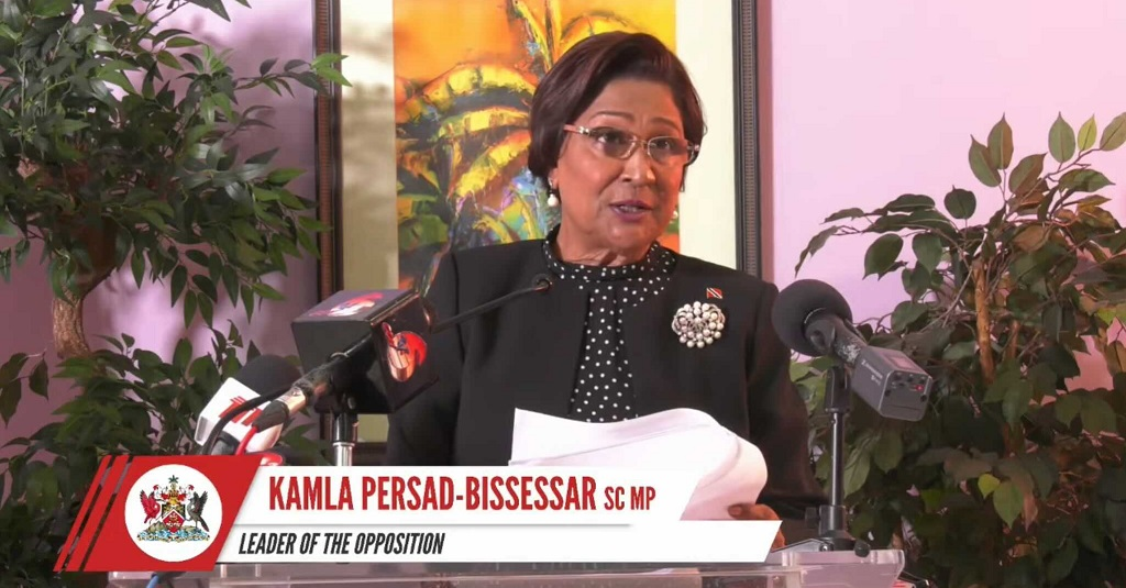 Pictured: Opposition Leader Kamla Persad-Bissessar speaking after the budget presentation on Monday. Screengrab taken from YouTube livestream.