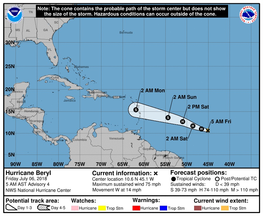 Beryl becomes 1st hurricane of 2018 season