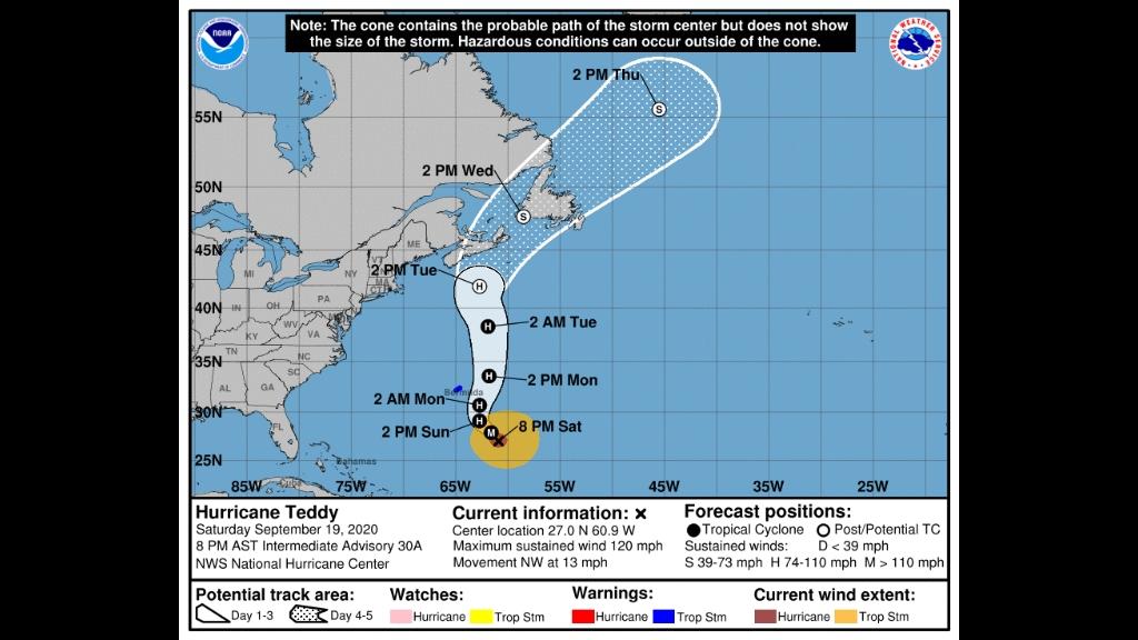 Latest forecast has hurricane Teddy on a course for Atlantic Canada