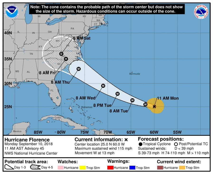 Florence Moves Toward the Carolinas