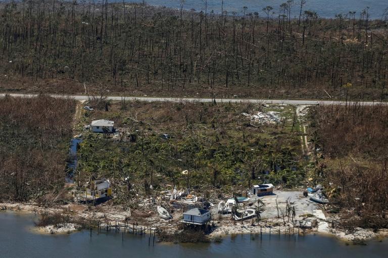AFP  Adam DelGiudiceVue aérienne des dommages infligés par l'ouragan Dorian à Freeport sur l'île de Grand Bahama le 5 septembre 2019