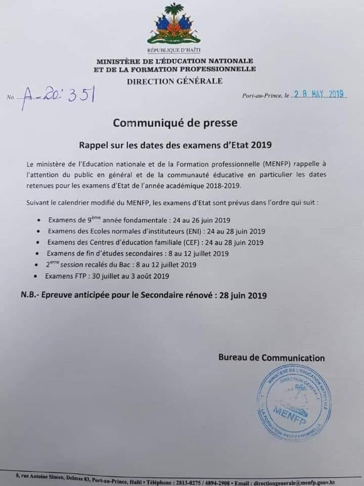 Calendrier Paiement Education Nationale 2019.Le Menfp Communique Les Dates Des Examens Officiels De 2019