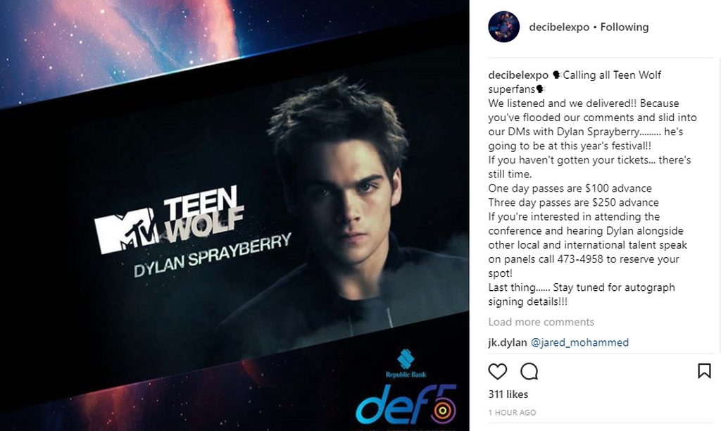 This teen wolf star is coming for decibel entertainment festival he joins ghost wars star avan jogia in the lineup for celeb meet and greets m4hsunfo