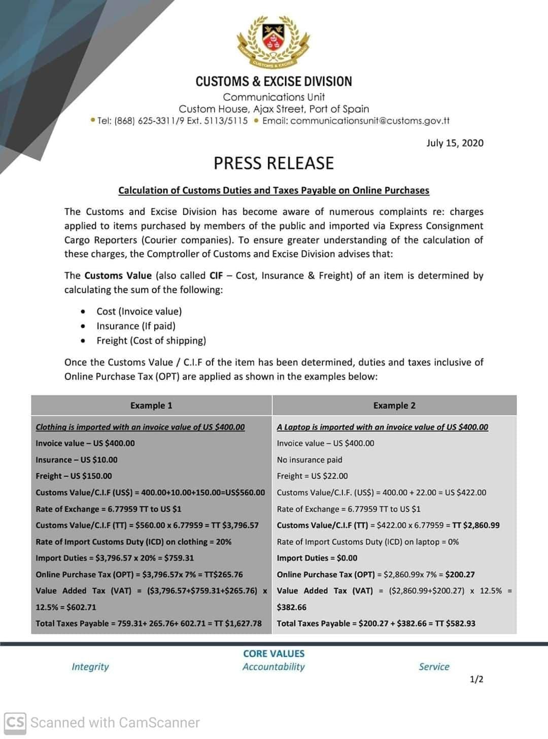 Barbados customs tariff