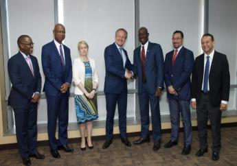 From left: Mark Regis Government Relations Advisor Shell TT, Derek Hudson Vice President Shell TT, Rachel Solway Executive Vice President Human Resources, Integrated Gas, Maarten Wetselaar Director Integrated Gas and New Energies, Prime Minister, Dr. Keith Rowley, Minister in the Office of the Prime Minister Stuart Young and Minister of Energy Franklin Khan