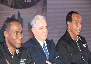 From left to right: EGC member Ambassador Nigel Clarke,  Former Colombian President Álvaro Uribe, and EGC Chairman Michael Lee-Chin.