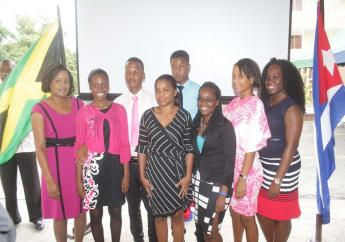 The eightstudents who received scholarships to study medicine and specialities related to medical sciencein Cuba.
