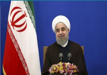 Iranian president Hassan Rouhani attends a televised speech after he won the election, in Tehran, Iran, Saturday, May 20, 2017. Rouhani says that the message of Friday's election that gave him another four-year term is one of Iran living in peace and friendship with the world.