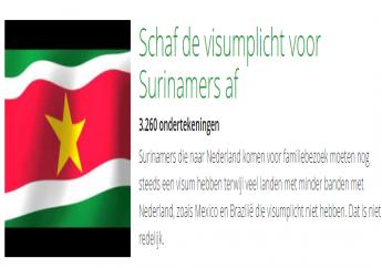 Online petitie voor afschaffing visumplicht Surinamers.