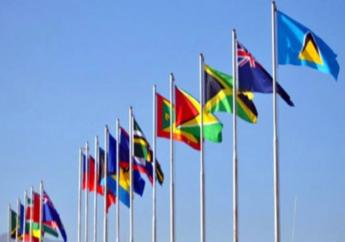 Flags of CARICOM countries.