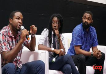 B-GLAD founder Donnya Piggott (centre) on the panel of the Global Shapers Bridgetown Hub Youth Forum. She is flanked by moderator Corey Lane (left) and economist and consultant Jeremy Stephen. (PHOTO: Richard Grimes)